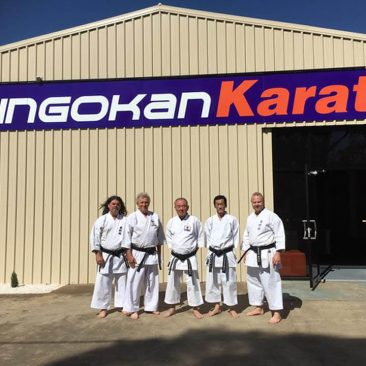 5 Senseis' standing outside of new shingokan karate dojo
